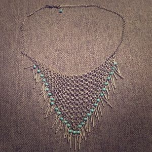 Silver tribal necklace with blue beads